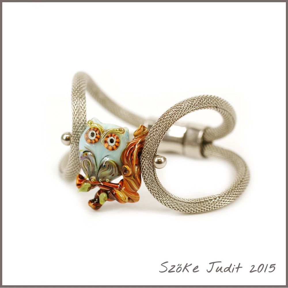 owl lampwork bead and bracelet